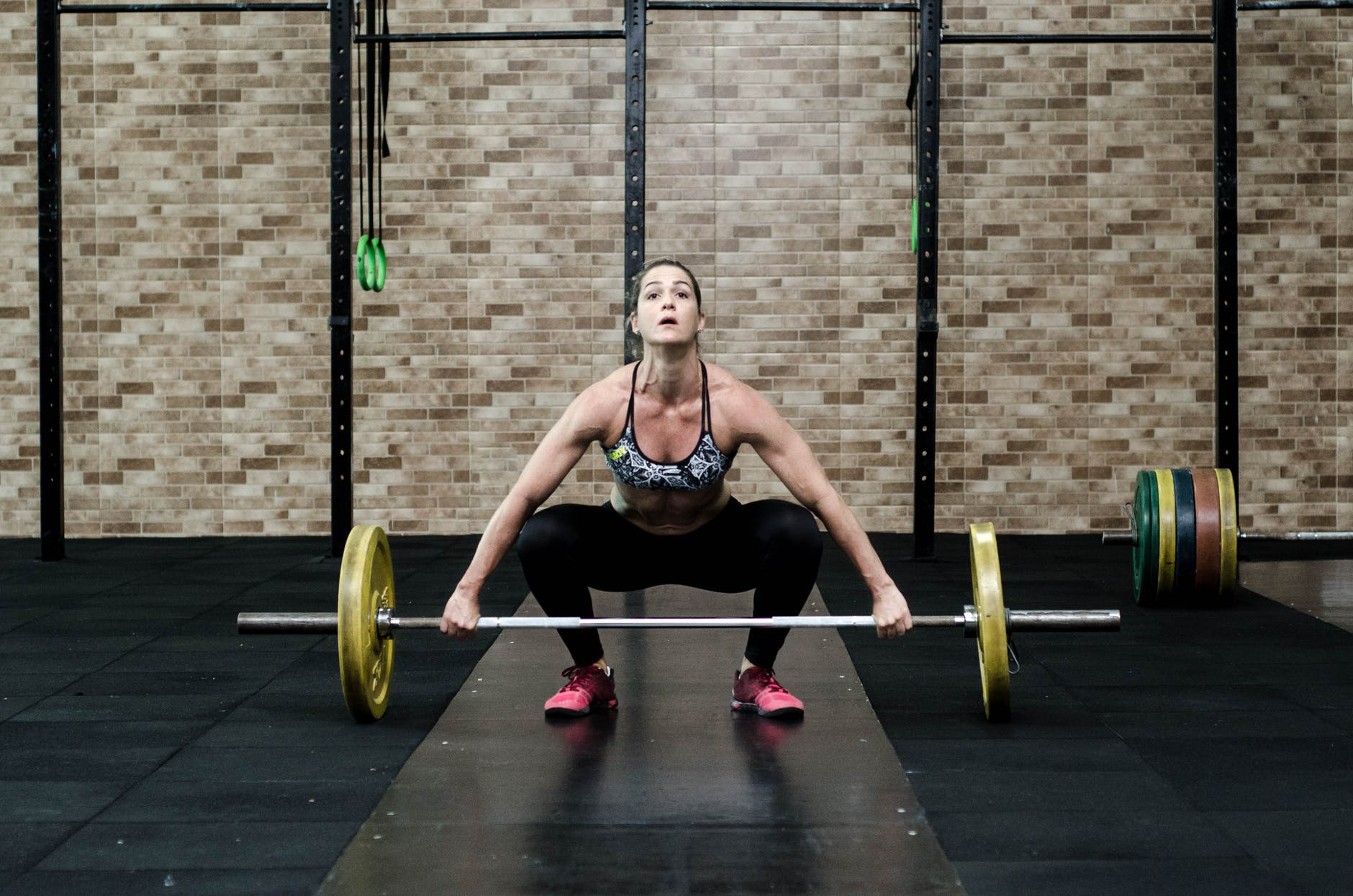 active adult athlete barbell
